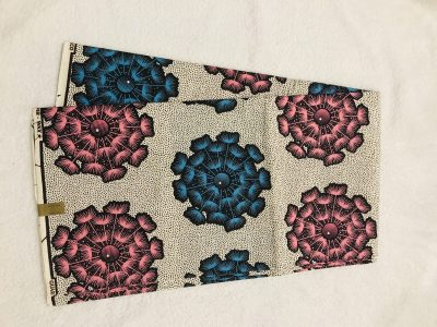 African Wax 6 yards blue beige and pink dandelion  African print. Ankanra 100% cotton material