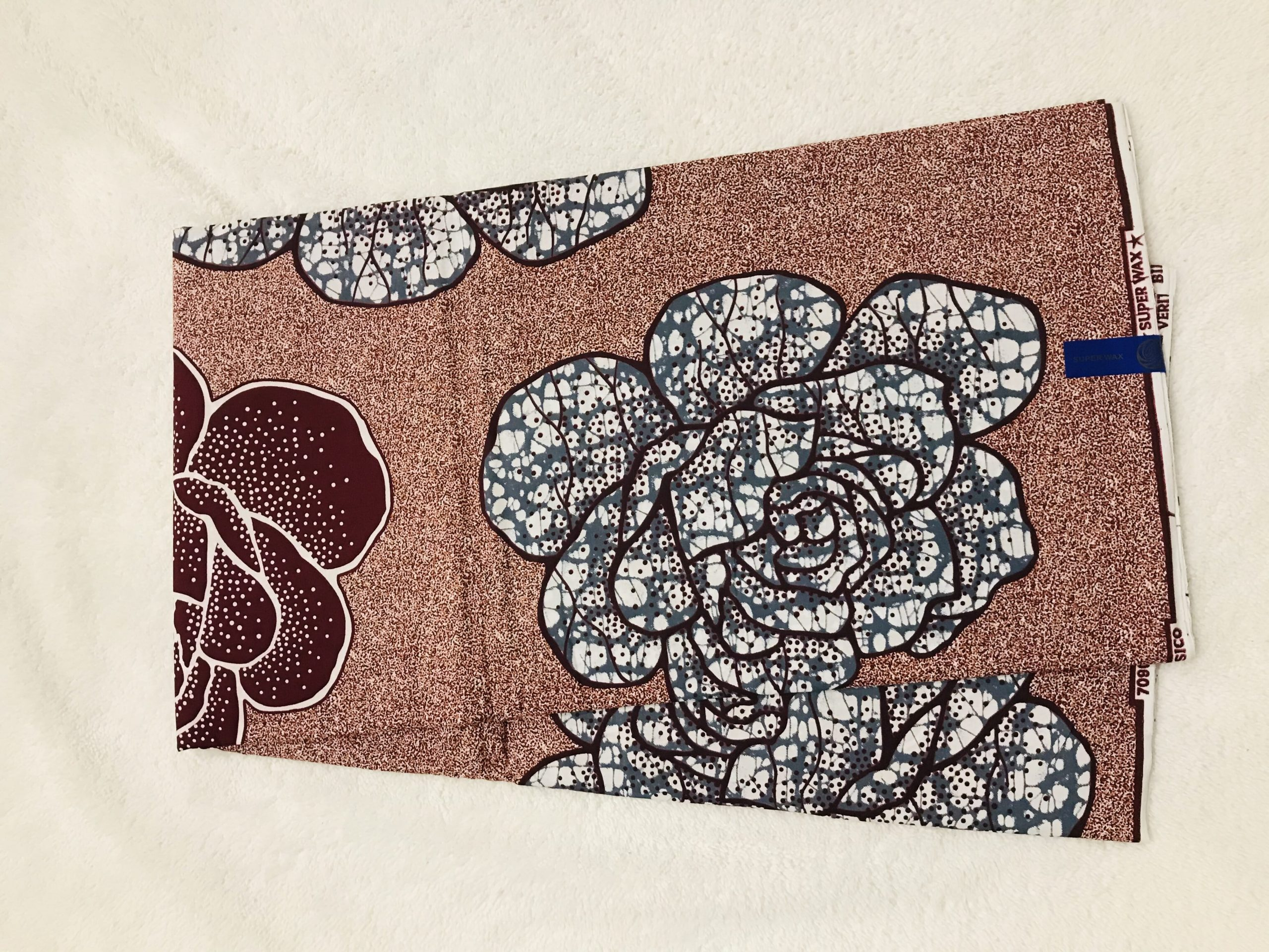 African Wax 6 yards brown beautiful flowers design real African print. Ankanra 100% cotton material.
