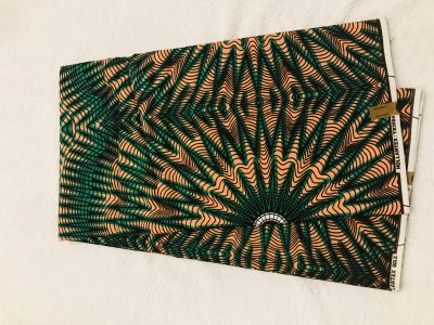 African Wax 6 yards green and peach bursting start and zig zag design African print.  Ankanra 100% cotton material