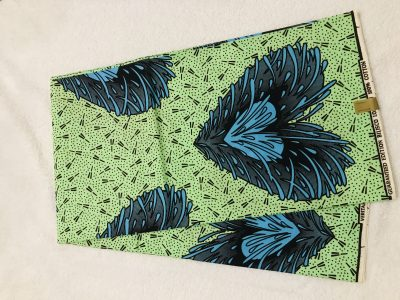 African Wax  6 yards green blue and black double hearts design real African print. Ankanra 100% cotton material.