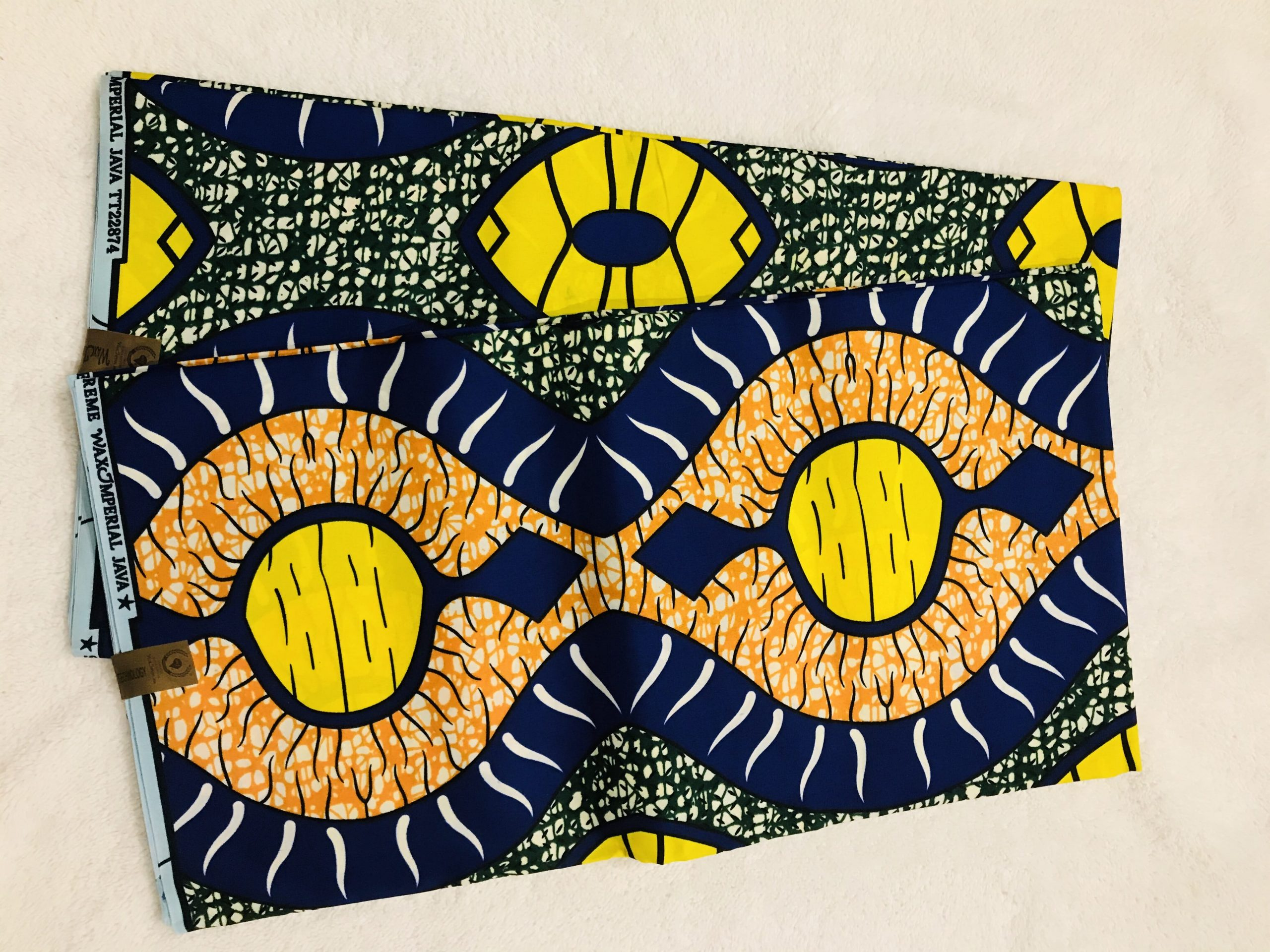 African Wax 6 yards green yellow and red colors African print.  Ankanra 100% cotton material.