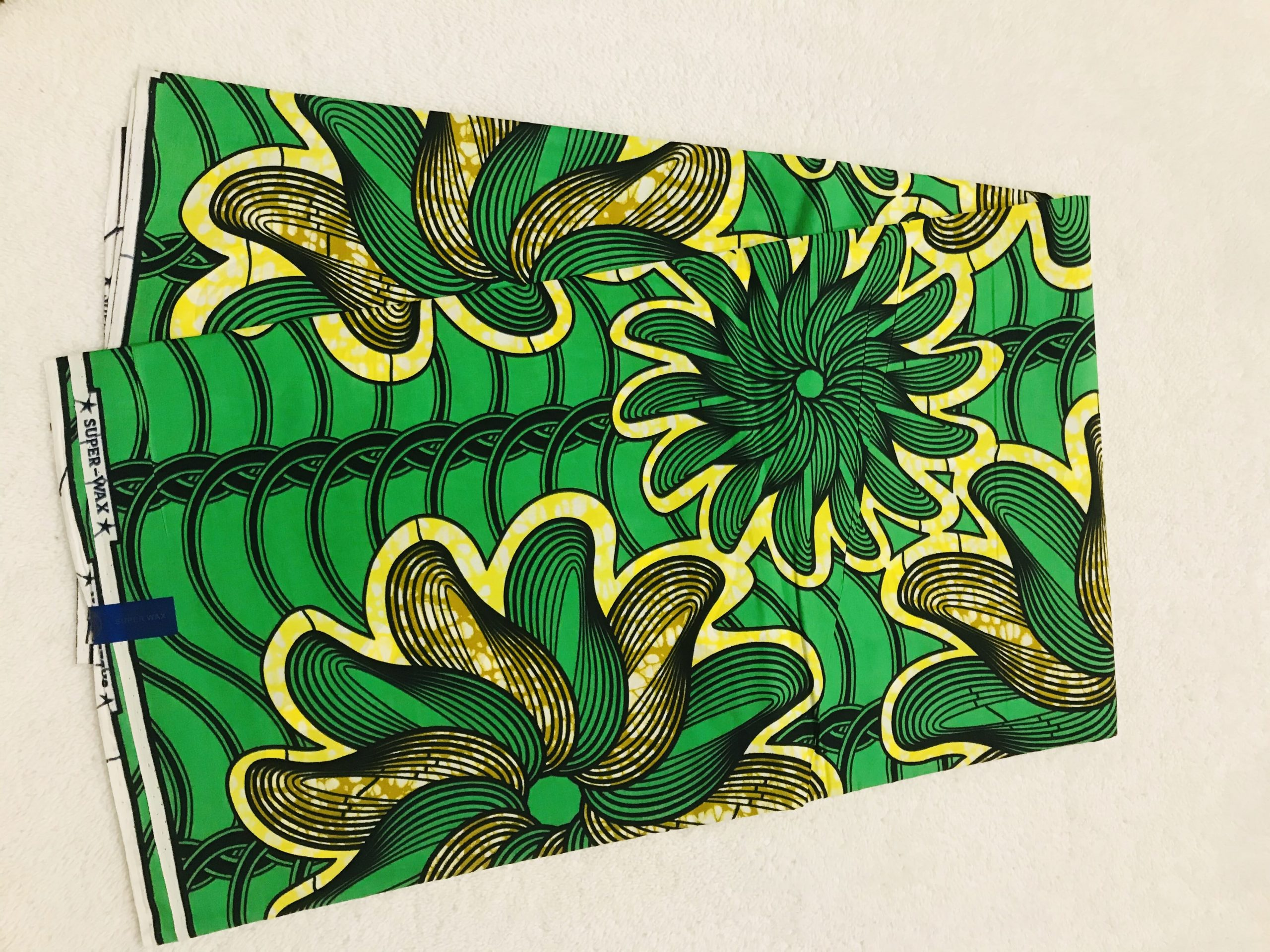 African Wax 6 yards green yellow and tan flowers design real African print. Ankanra 100% cotton material.
