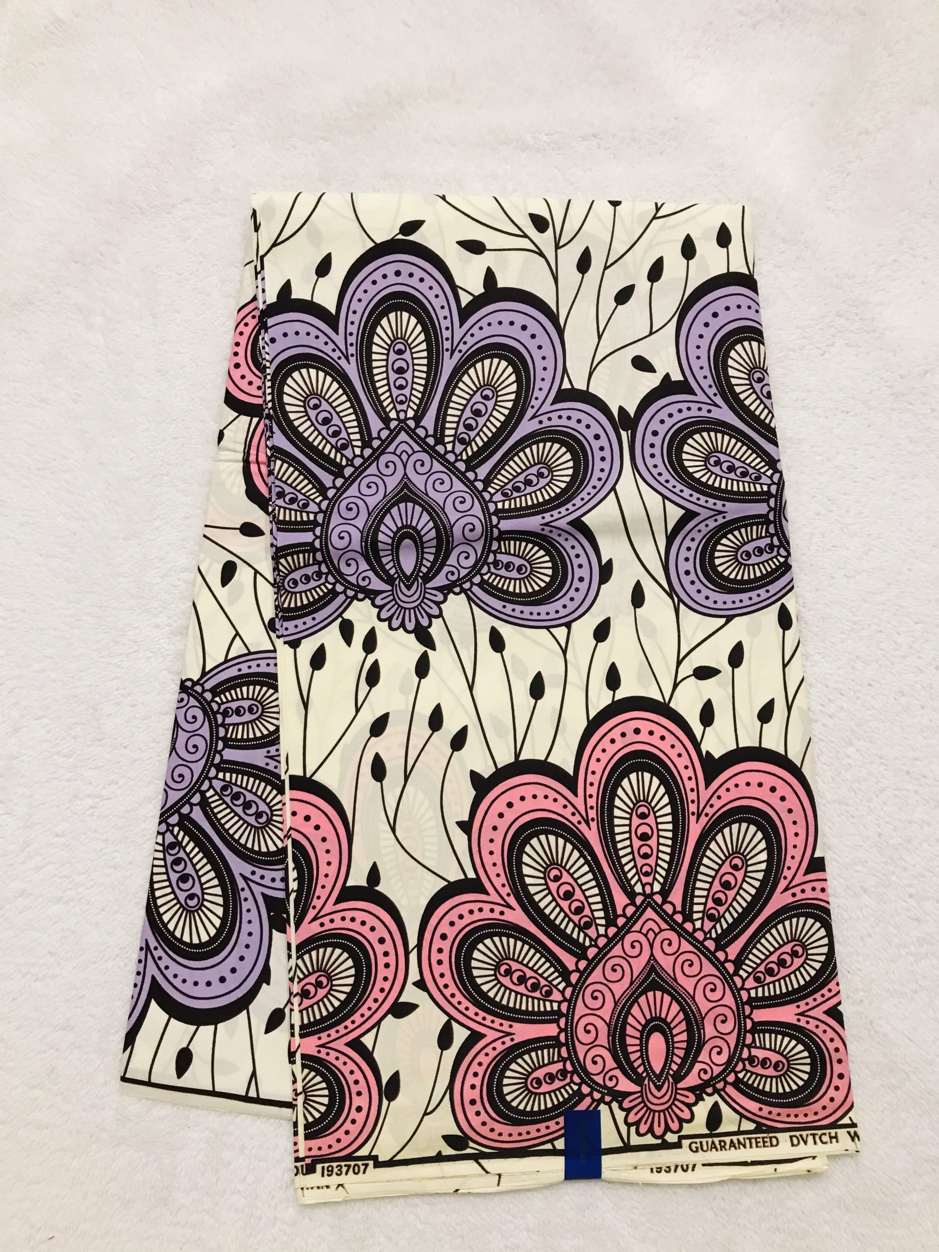African Wax 6 yards pink and purple Asian unique flower African print. Ankanra 100% cotton material