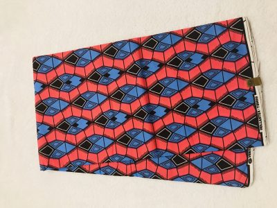 African Wax 6 yards pink black and blue  diamond design real African print. Ankanra 100% cotton material.
