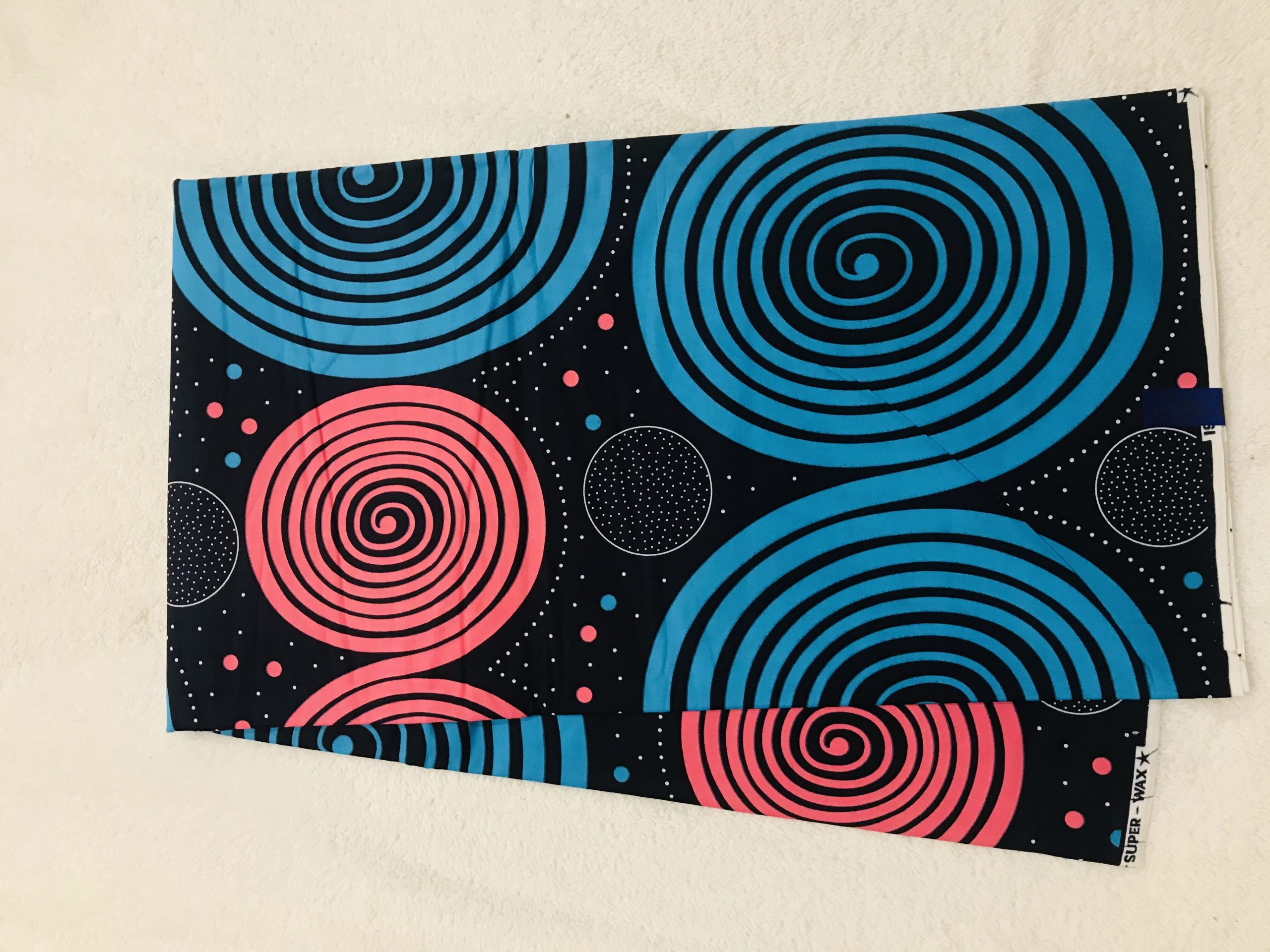 African Wax 6 yards pink black and blue space and galaxy design real African print. Ankanra 100% cotton material.