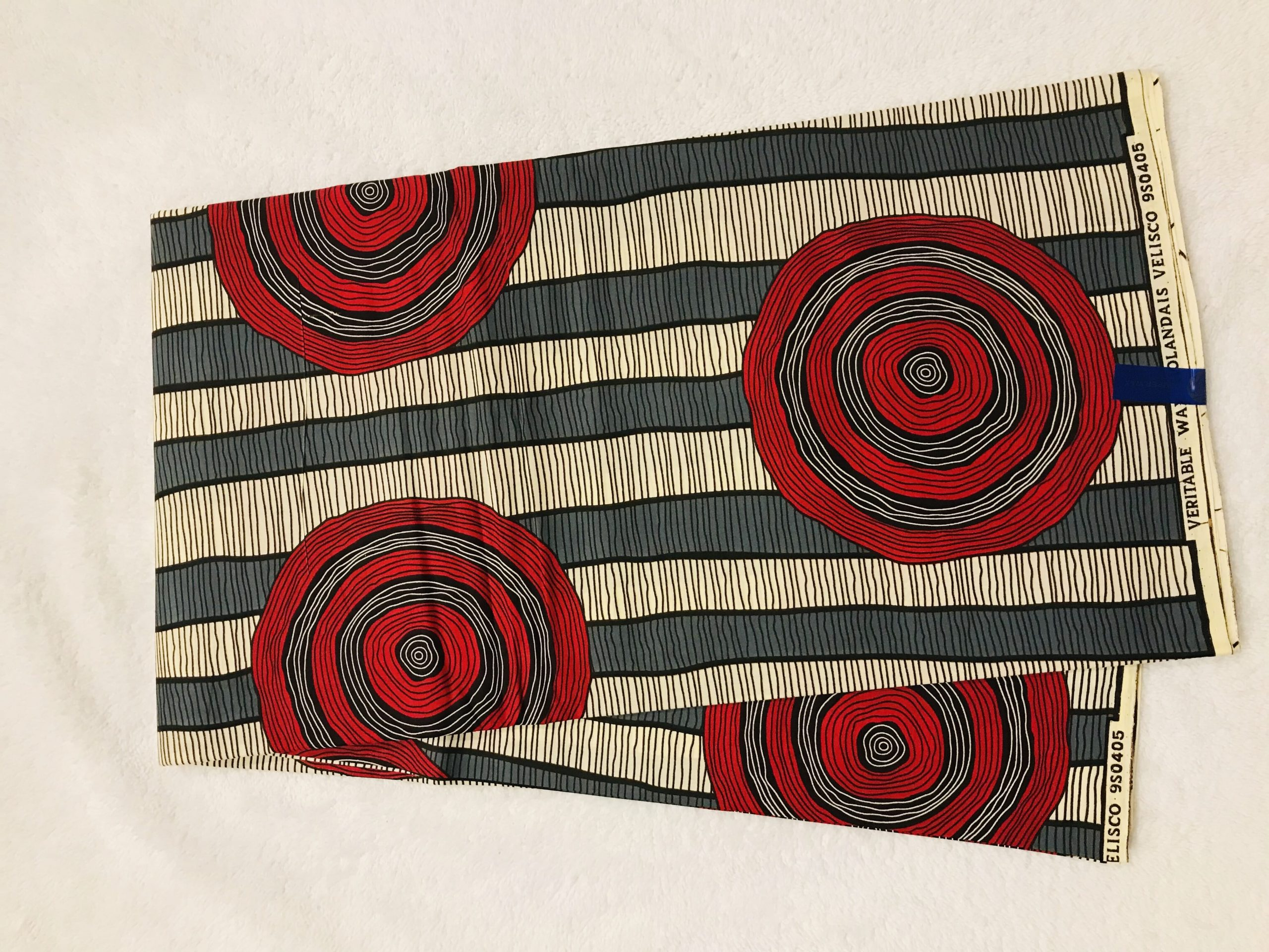 African Wax 6 yards red gray and tan  lines & circles design real African print. Ankanra 100% cotton material.