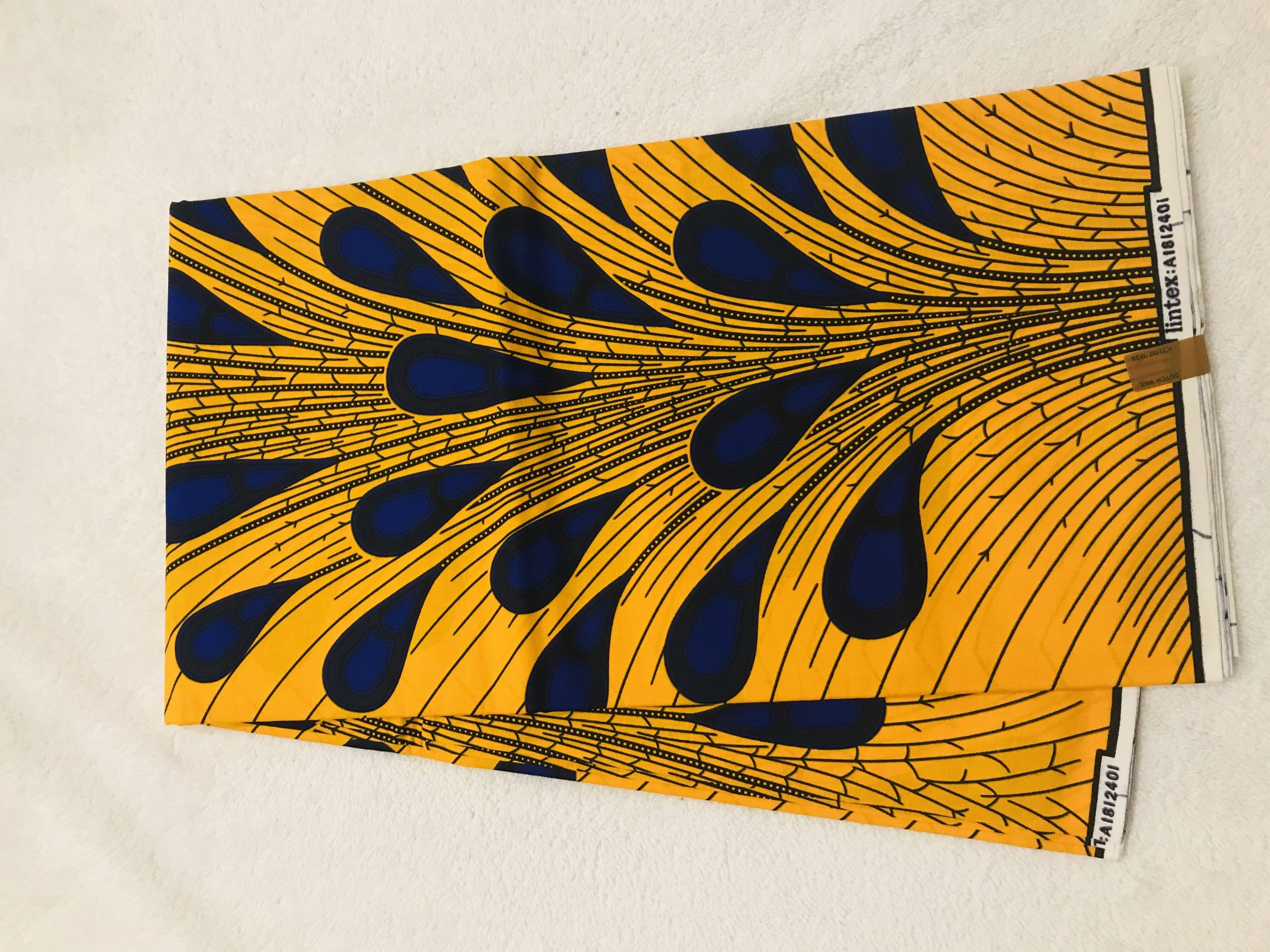 African Wax 6 yards royal blue and yellow golf club sticks design African print.  Ankanra 100% cotton material