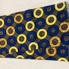 African Wax 6 yards royal blue yellow and brown small circles design African print. African print.Ankanra 100% cotton material