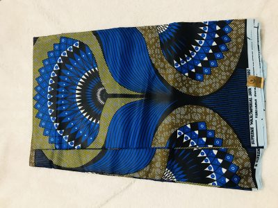 African Wax 6 yards royal blue / yellow and green fan design African print .  Ankanra 100% cotton material.