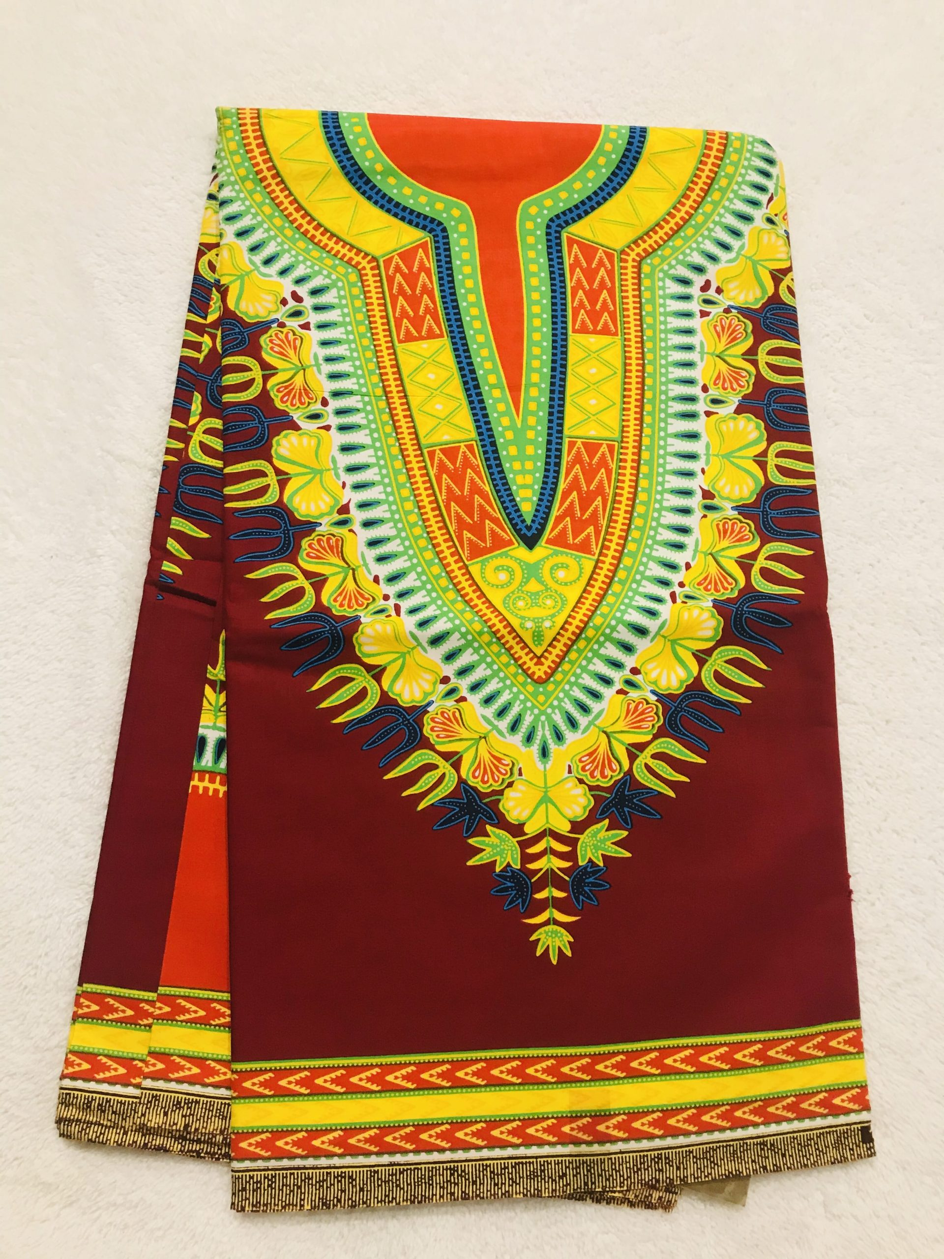 African Wax 6 yards vine red yellow and green partern dashiki real African print.Ankanra 100% cotton material.