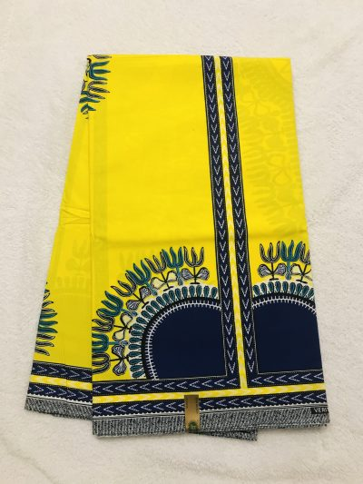 African Wax 6 yards yellow and navy blue dashiki African print .Ankanra 100% cotton material