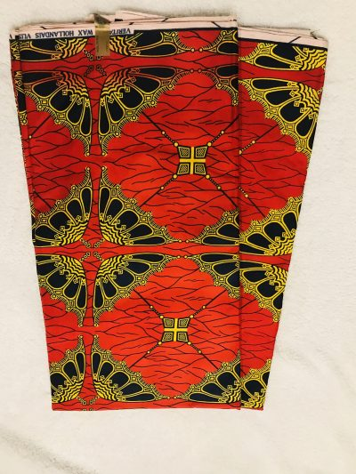 African Wax. 6 yards black / yellow and red umbrelasl design African printnkanra 100% cotton material.