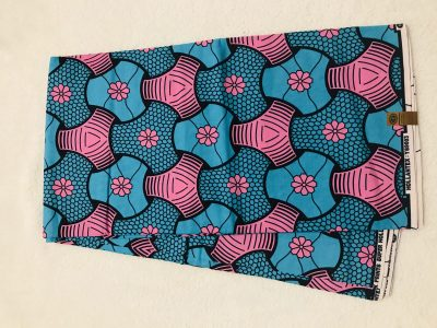African Wax6 yards pink and blue y connection  African print. Ankanra 100% cotton material