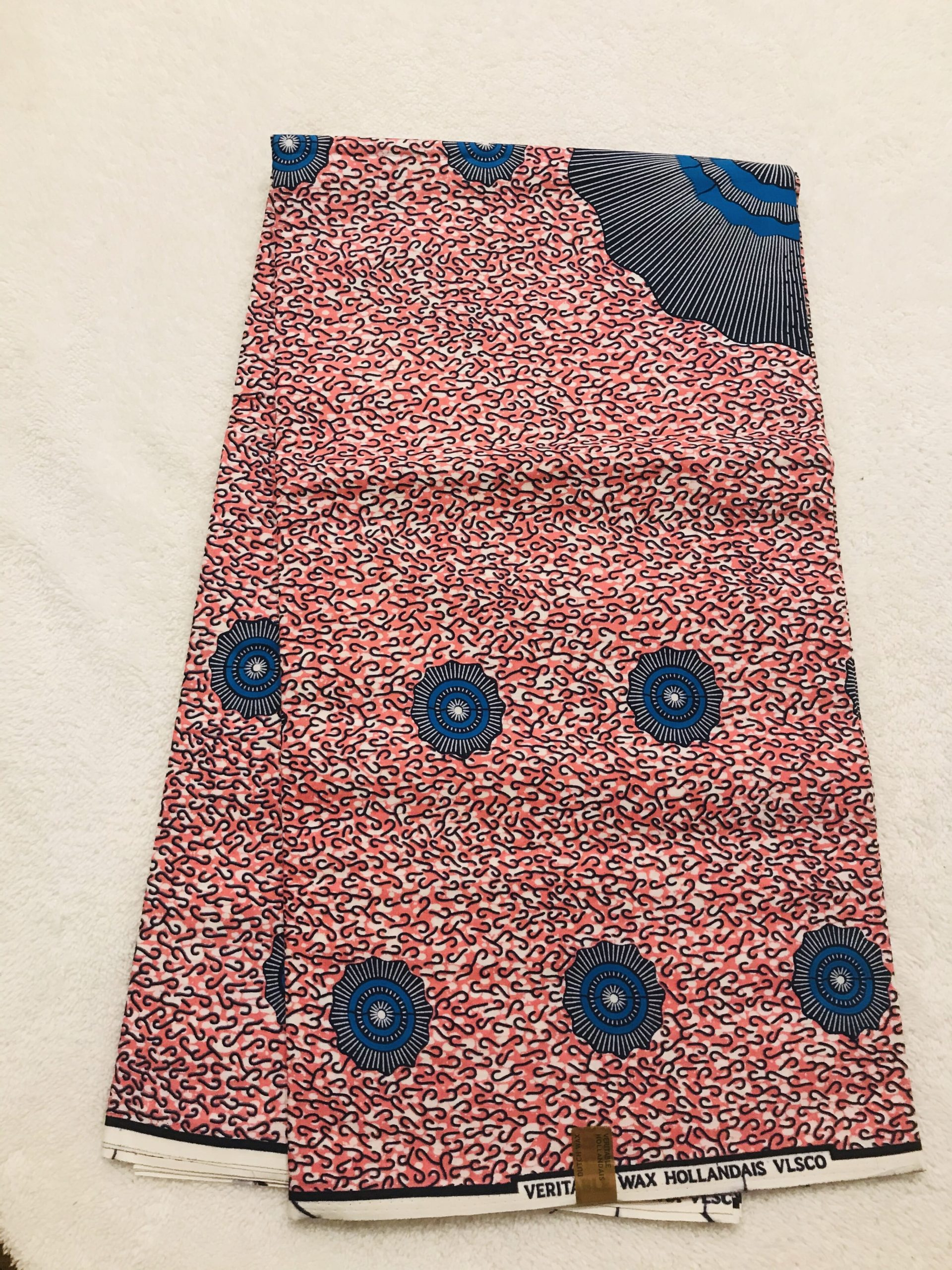 African Wax6 yards pink gray and royal blue eye of the storm African print. Ankanra 100% cotton material