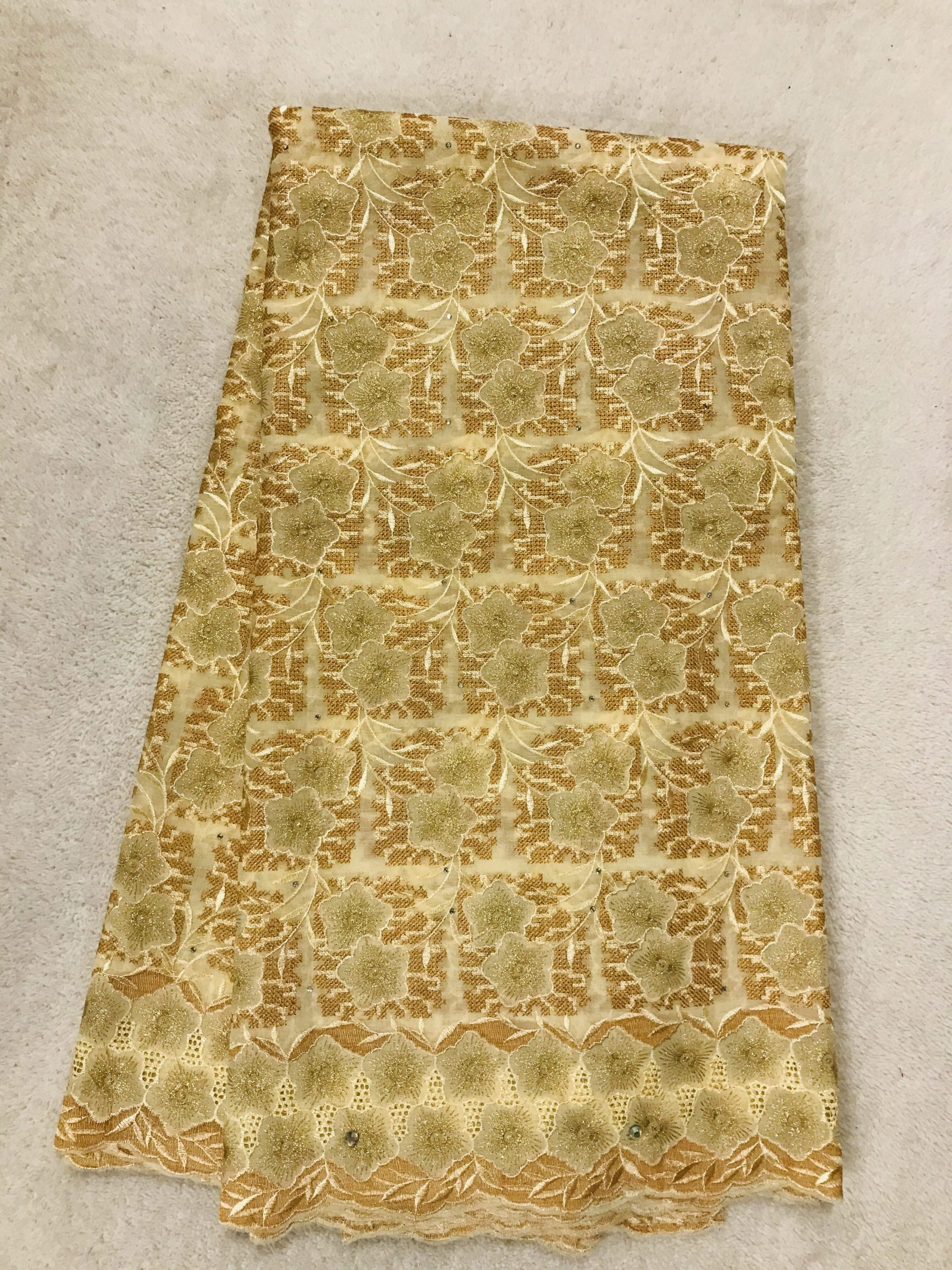 Bbfash African Fashion Lace Fabric. 5 yards 2019 fancy Golden Embroidered Flower Lace.French Lace Fabric Embroidered and Rhinestones Coton Cord Lace for Wedding  Party & More