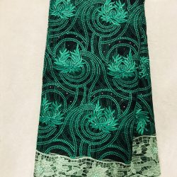 Bbfash African Fashion Lace Fabric. 5 yards 2019  fancy Green Embroidered and Manual Beading Guipure Cord Lace. French Lace Fabric Embroidered and Rhinestones Cord Lace for Wedding  Party & More