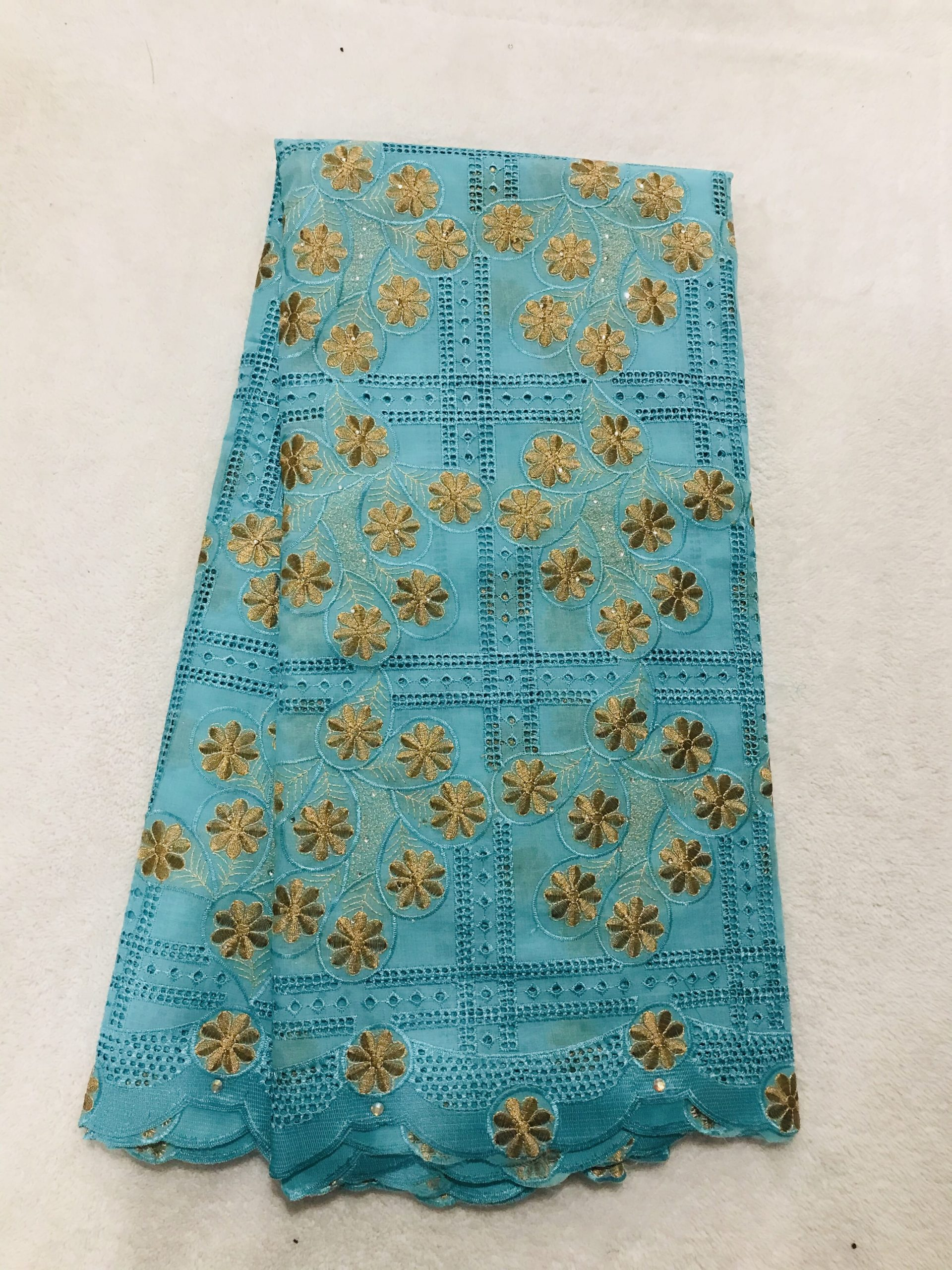 Bbfash African Fashion Lace Fabric. 5 yards 2019 fancy Green and Gold Embroidery Stones Lace.French Lace Fabric Embroidered and Rhinestones Coton Cord Lace for Wedding  Party & More