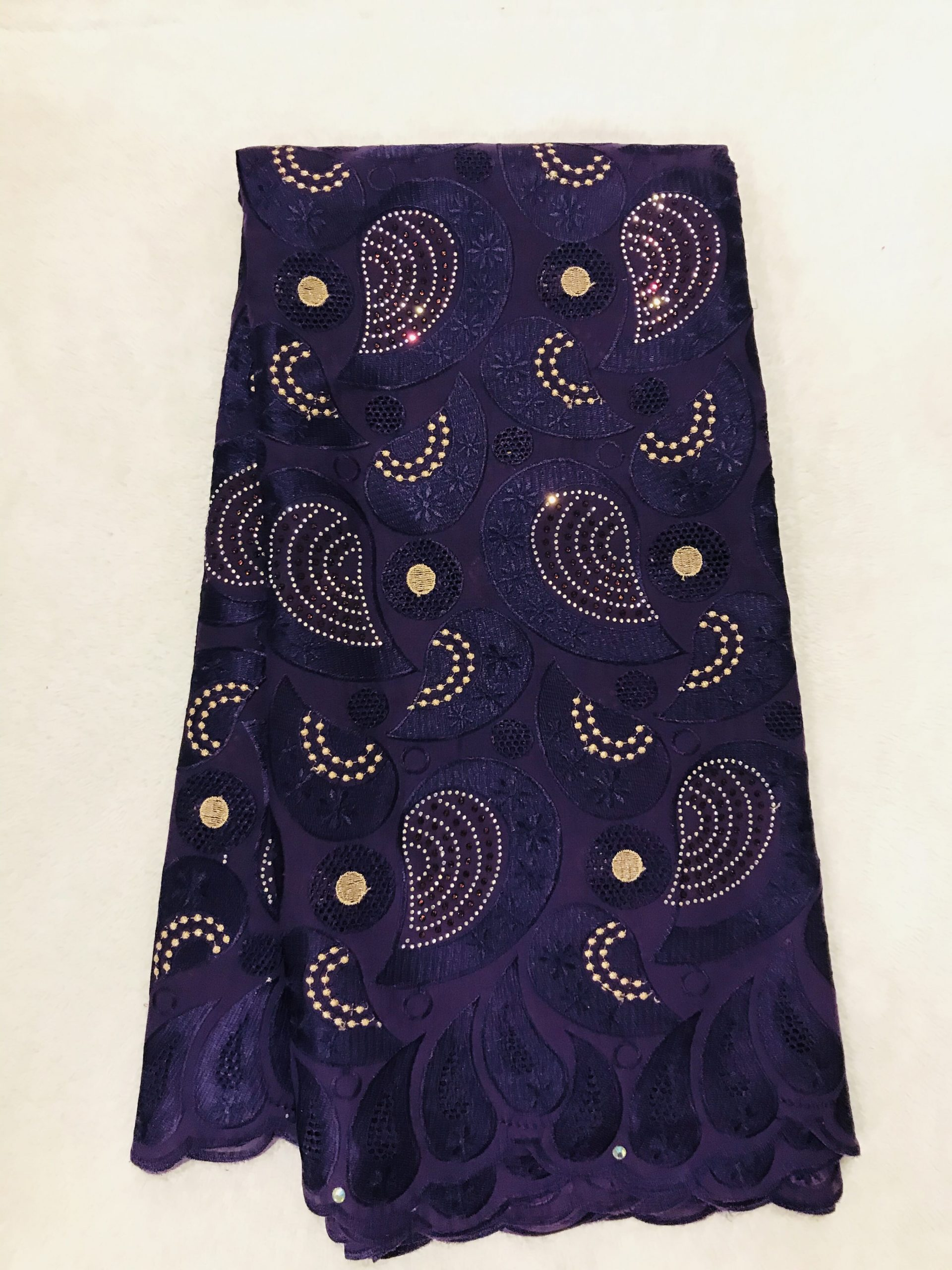 Bbfash African Fashion Lace Fabric. 5 yards 2019 fancy Purple Embroidery Stones Lace.French Lace Fabric Embroidered and Rhinestones Coton Cord Lace for Wedding  Party & More