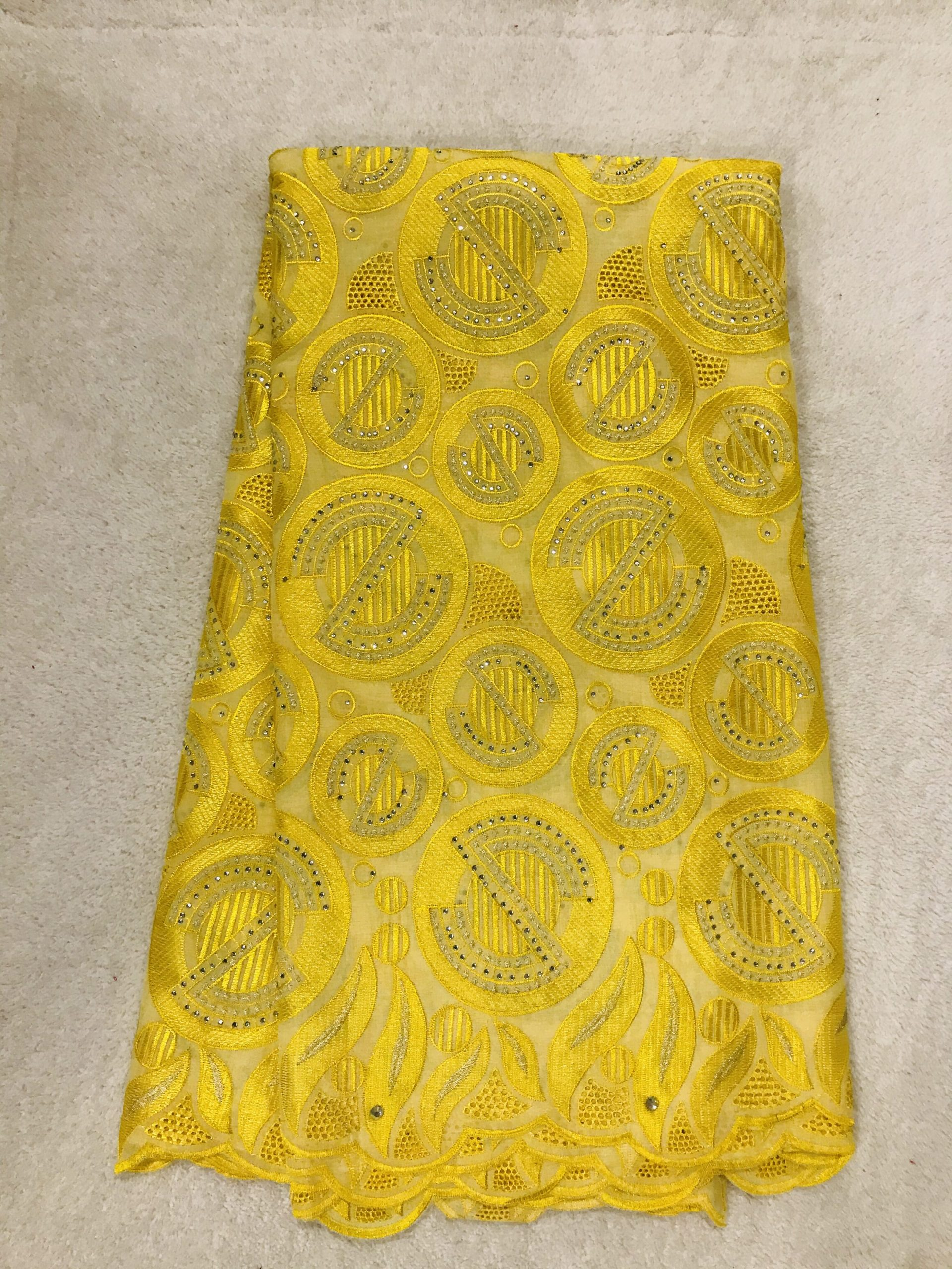 Bbfash African Fashion Lace Fabric. 5 yards 2019 fancy Yellow Embroidery Stones Lace.French Lace Fabric Embroidered and Rhinestones Coton Cord Lace for Wedding  Party & More